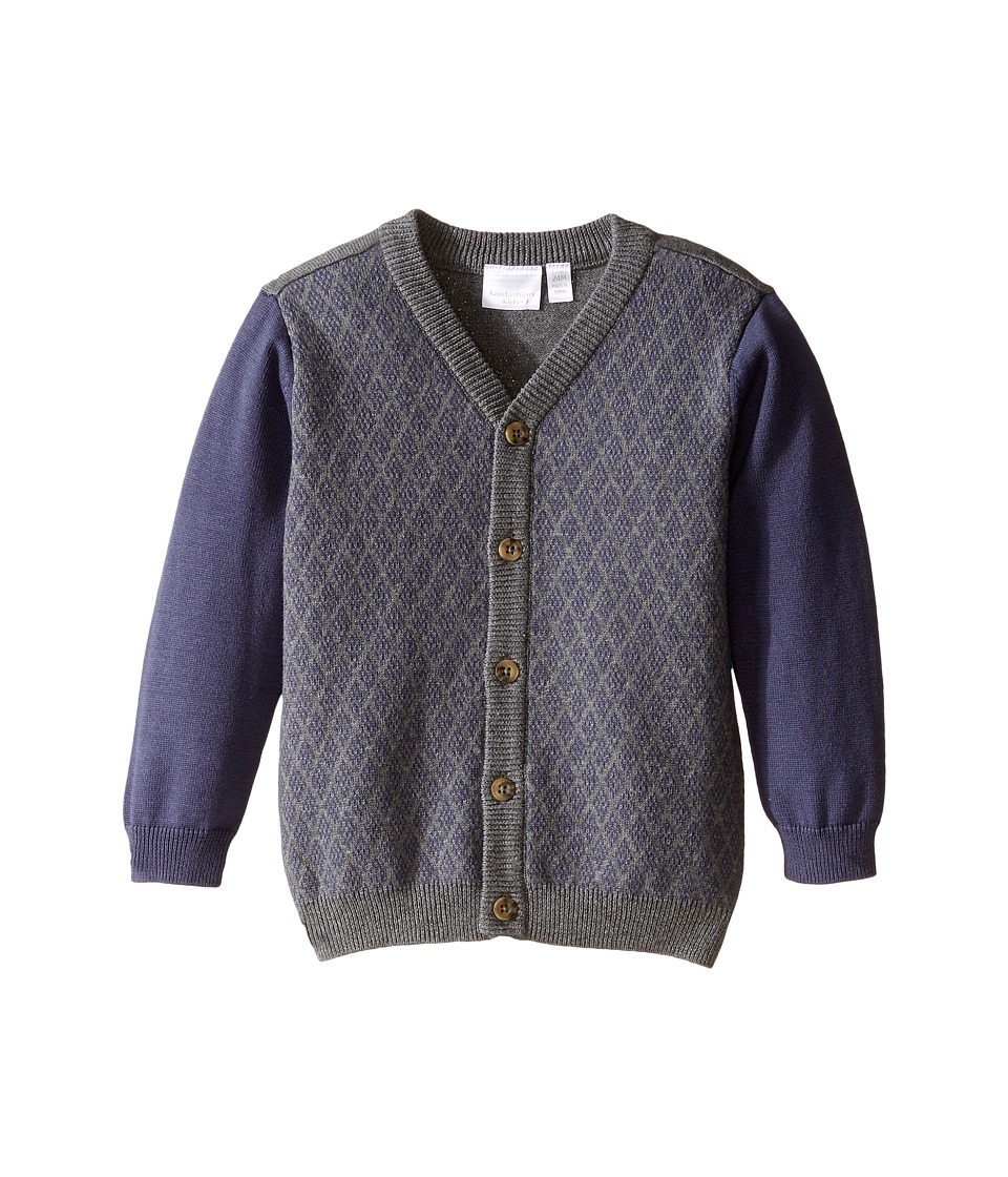Kardashian Kids - Diamond Intarsia Knit Cardigan (Infant) (Navy/Grey) Boy's Sweater