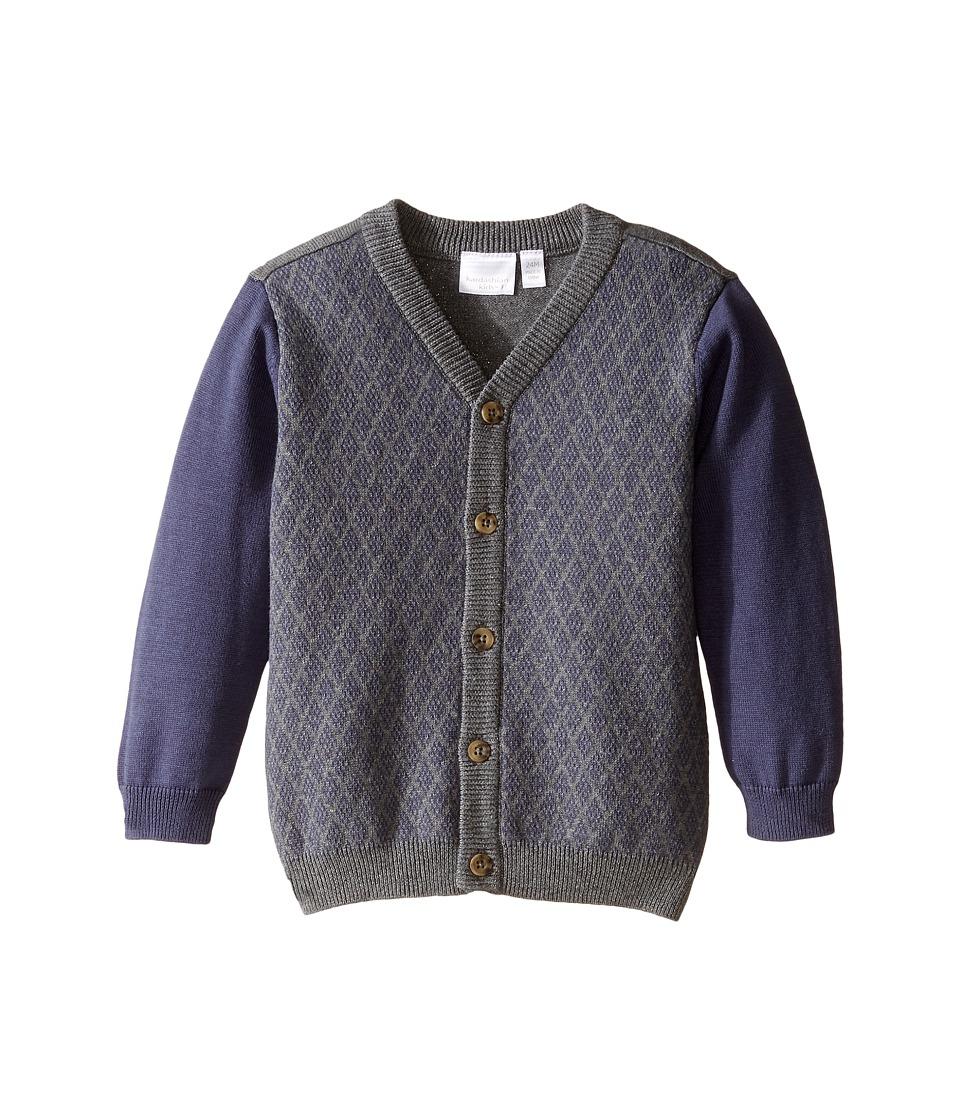 Kardashian Kids - Diamond Intarsia Knit Cardigan (Infant) (Navy/Grey) Boy's Sweater