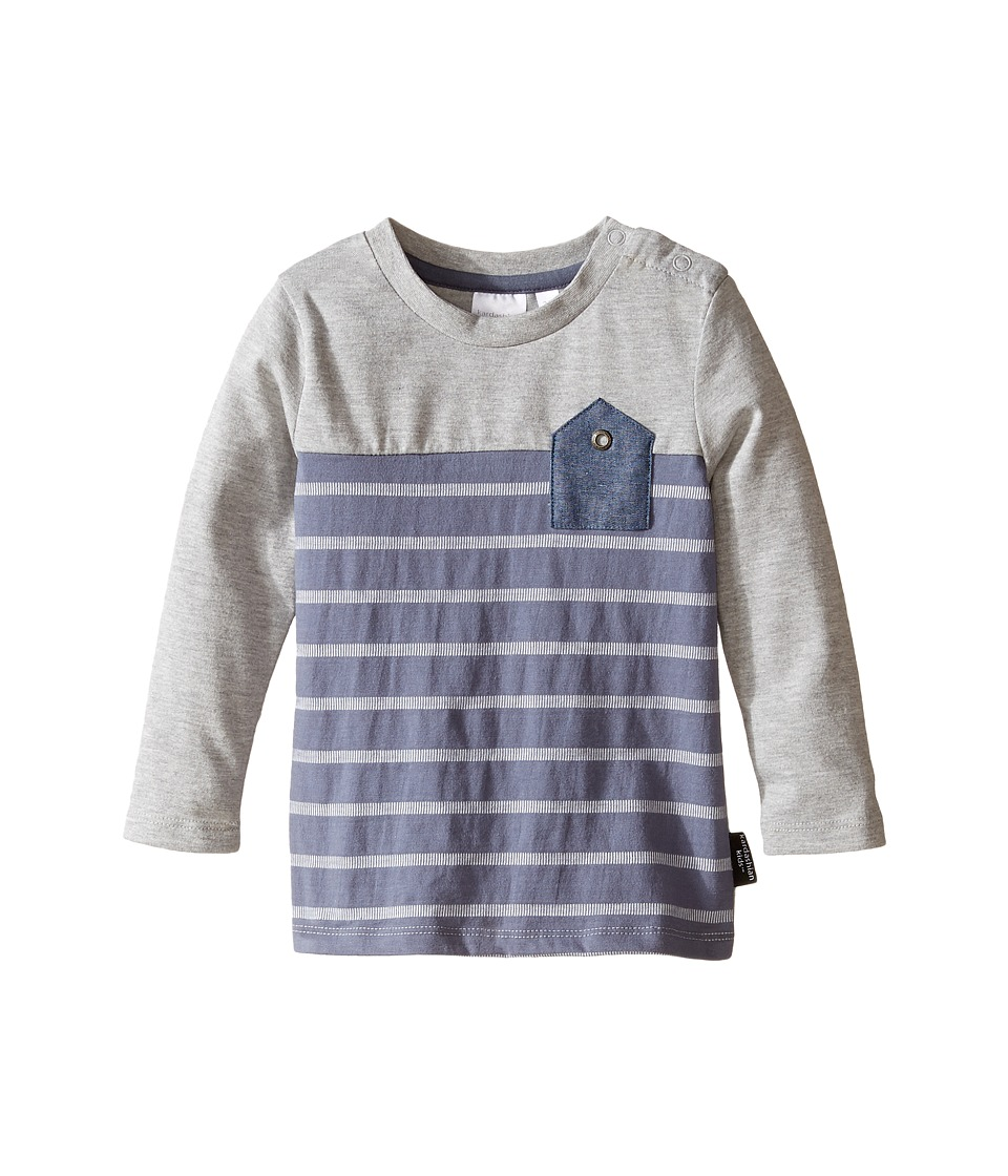 Kardashian Kids - Blocked and Striped Inverted Chambray Pocket Tee (Infant) (Blue/Grey) Boy's T Shirt