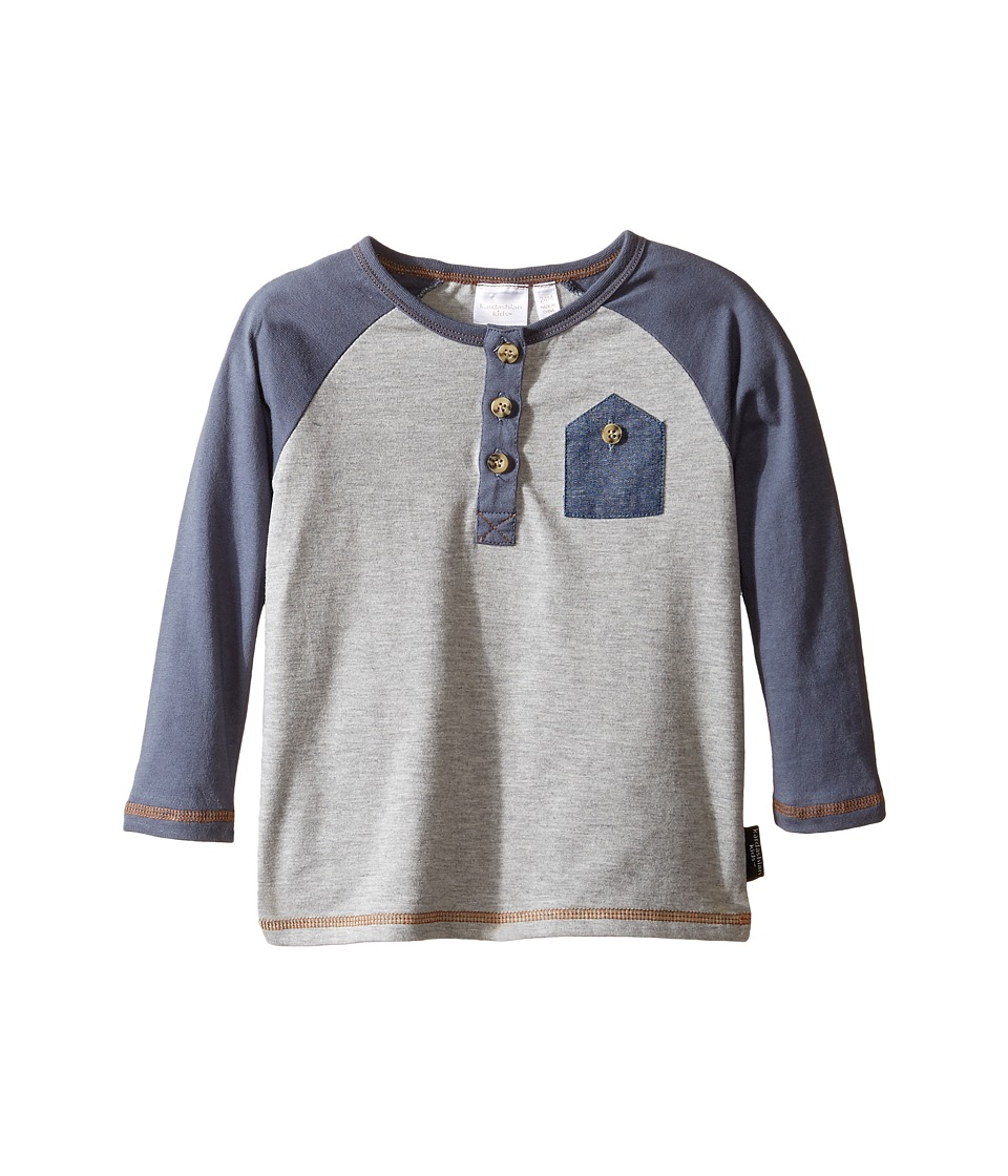 Kardashian Kids - Raglan Henley Tee with Chambray Front Pocket (Infant) (Grey/Blue) Boy's T Shirt