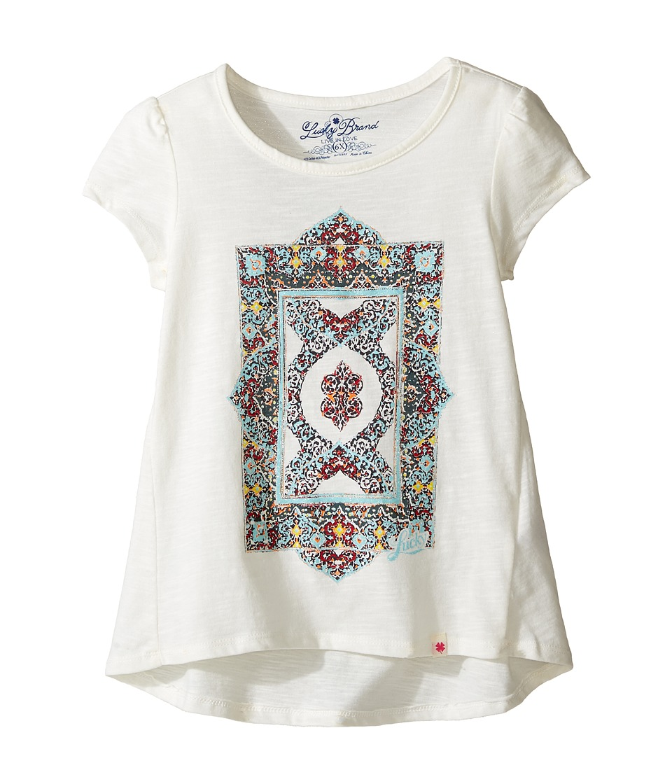 Lucky Brand Kids - Short Sleeve Tee w/ Princess Seams and Screen Print (Little Kids) (Egret) Girl's T Shirt