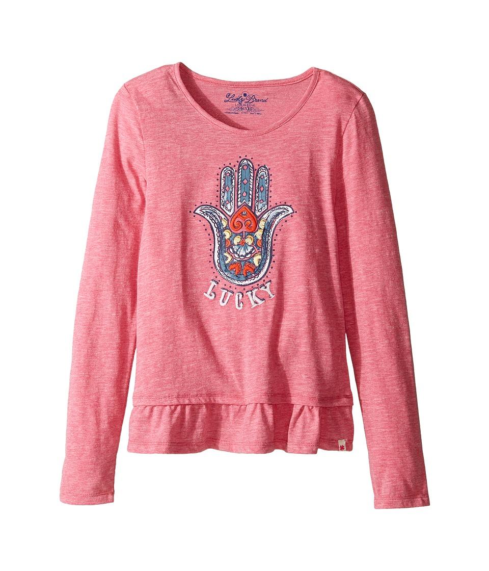 Lucky Brand Kids - Long Sleeve Tee w/ Ruffle and Hamsa Screen Print (Little Kids) (Magenta) Girl's T Shirt