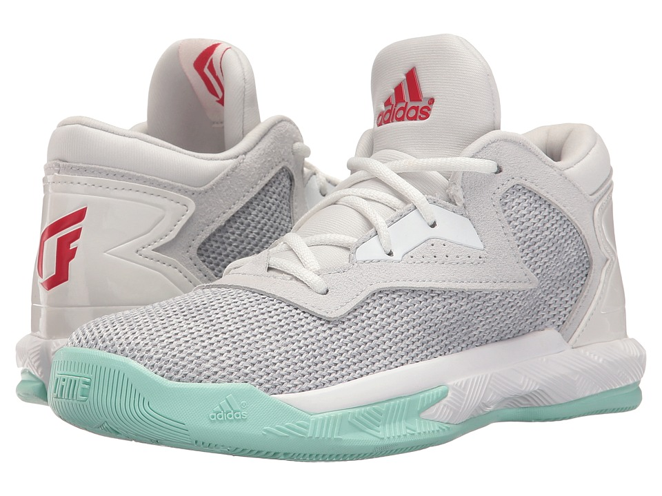 adidas Kids - D Lillard 2 C (Little Kid) (Light Solid Grey/Solar Rred/Ice Green) Kids Shoes
