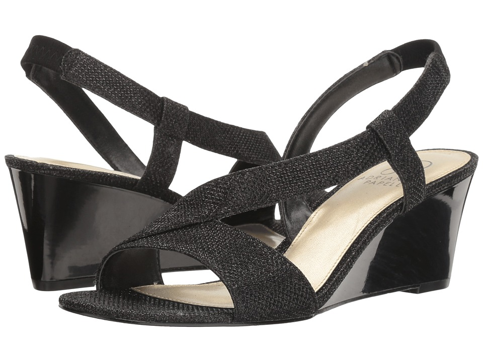 Adrianna Papell - Taryn (Black Jimmy Net) Women's Wedge Shoes