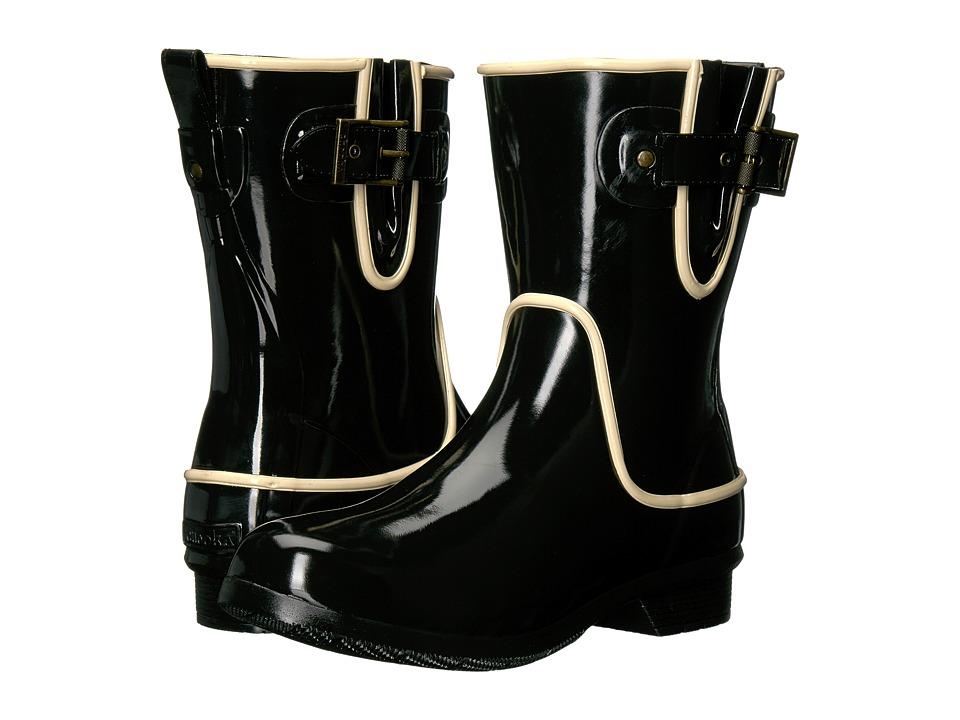 Chooka - Classic Mid Fine Line (Black High Gloss) Women's Rain Boots