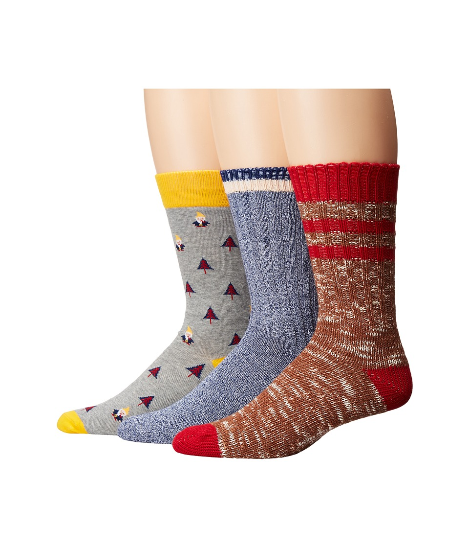 Richer Poorer - Holiday (Brown/Heather Grey/Navy) Men's Crew Cut Socks Shoes