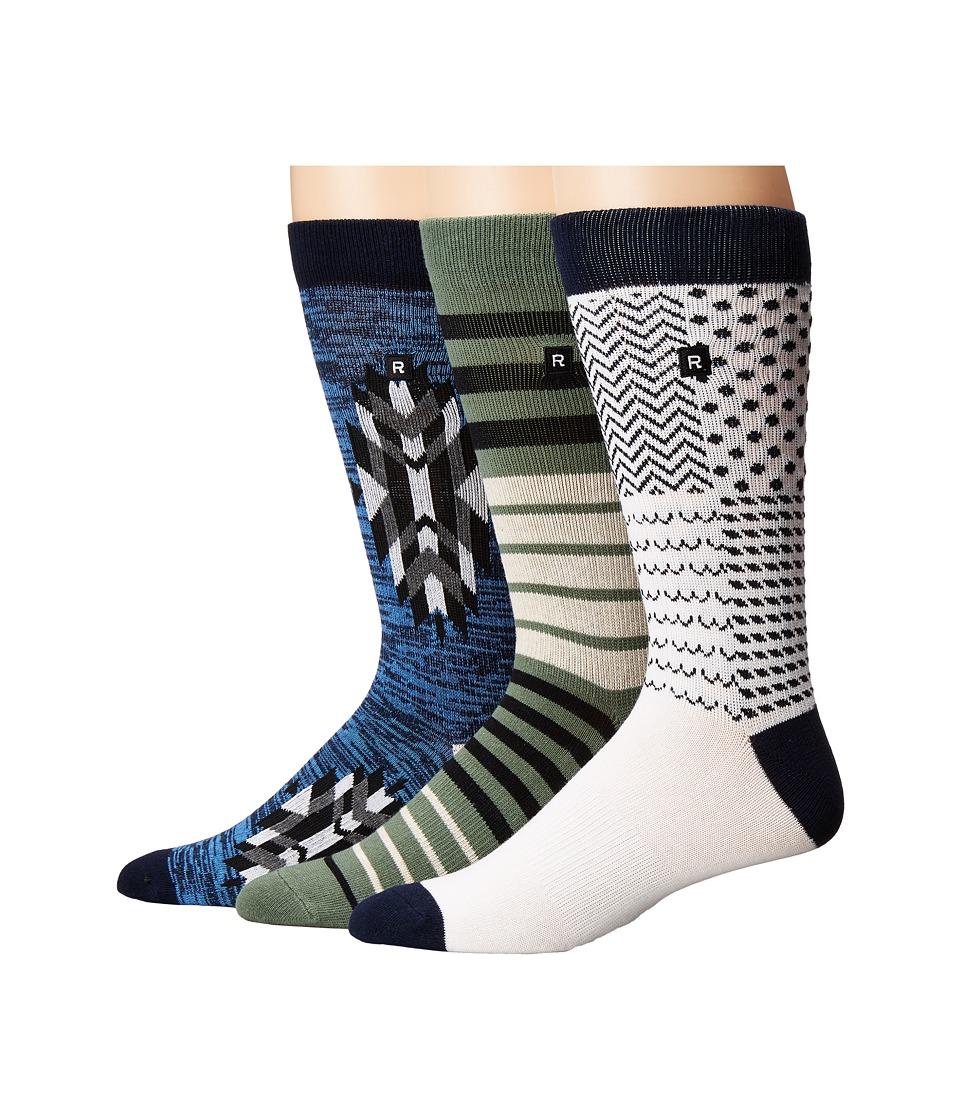 Richer Poorer - Everyday (Navy/Green/White) Men's Crew Cut Socks Shoes