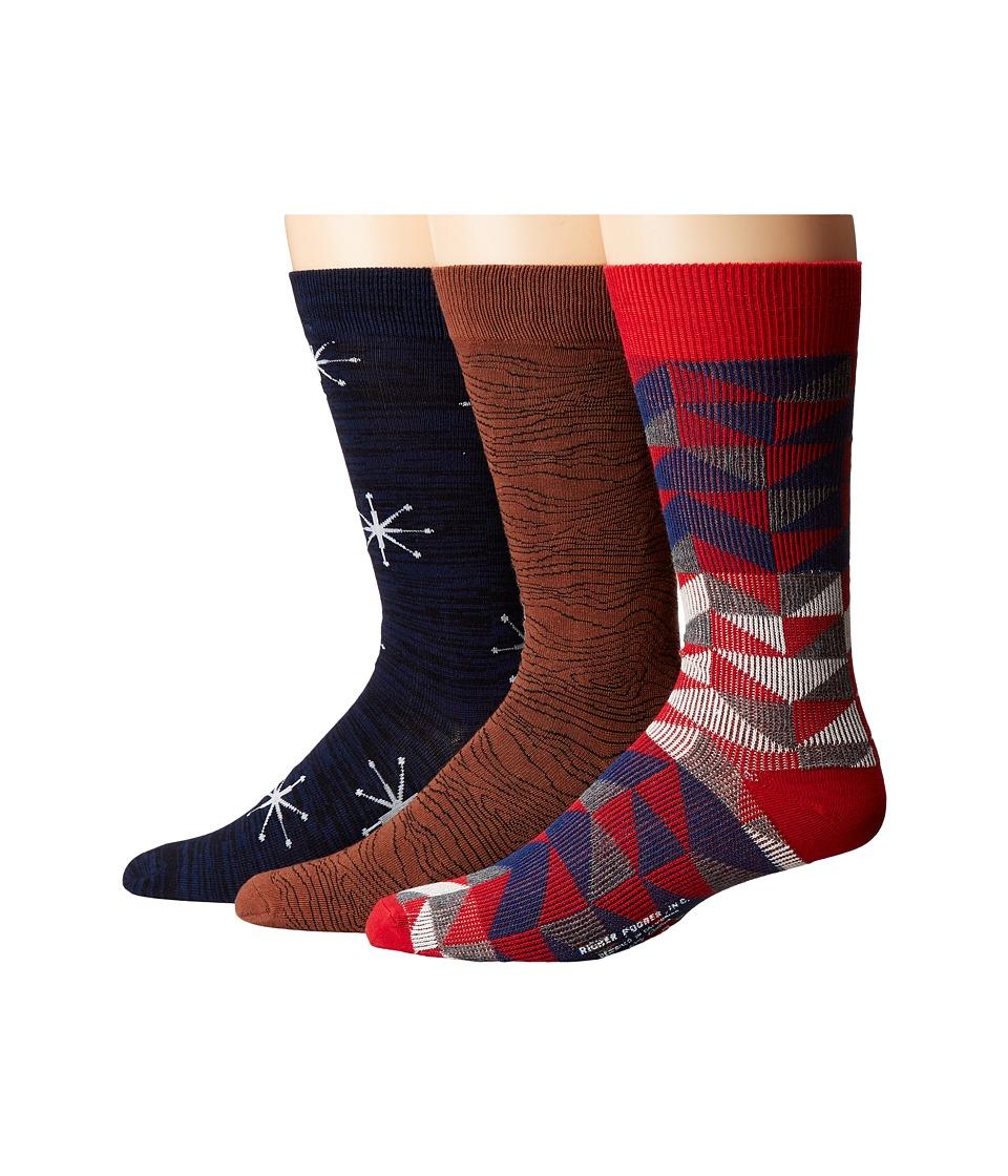 Richer Poorer - Crew (Red/Navy/Brown) Men's Crew Cut Socks Shoes