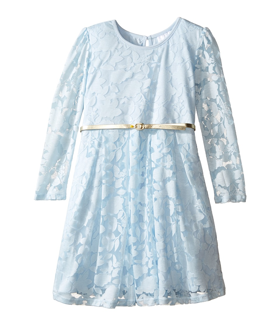Kardashian Kids - Long Sleeve Burnout Dress with Metallic Belt (Toddler/Little Kids) (Blue) Girl's Dress