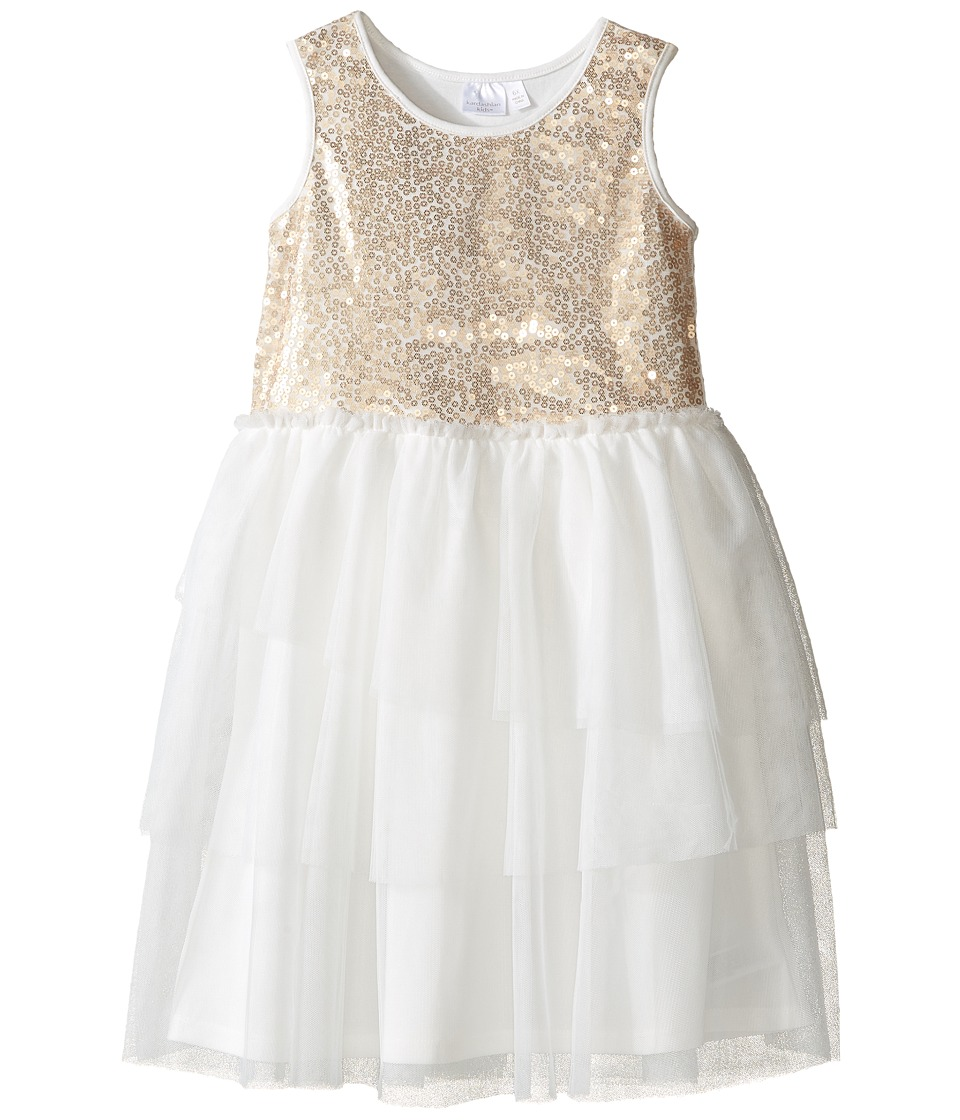 Kardashian Kids - Sequin Bodice Dress with Mesh Layer Skirt (Toddler/Little Kids) (Gold/Ivory) Girl's Dress