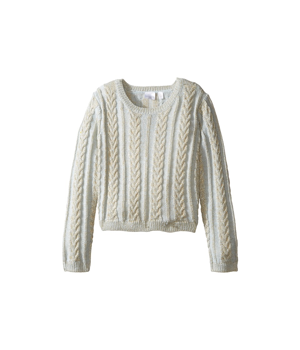 Kardashian Kids - Chunky Cable Knit Sweater (Toddler/Little Kids) (Gold Metallic/Blue) Girl's Sweater