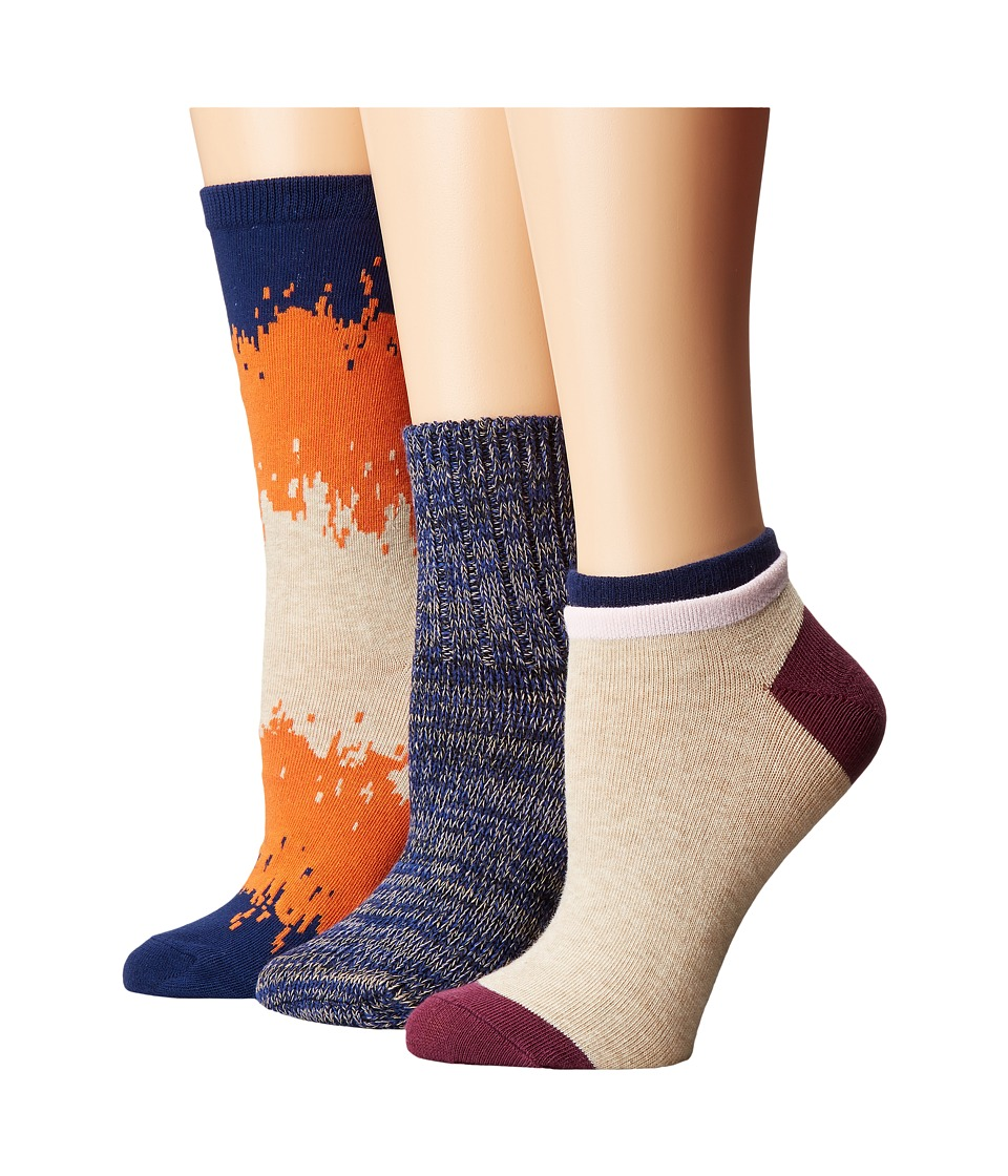 Richer Poorer - Mixed Assorted 3-Pack (Orange/Navy/Oatmeal) Women's Crew Cut Socks Shoes