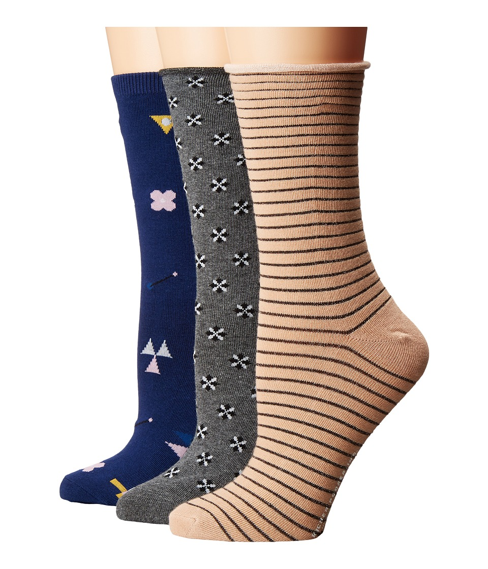 Richer Poorer - Mixed Crew 3-Pair Pack (Tan/Navy/Charcoal) Women's Crew Cut Socks Shoes