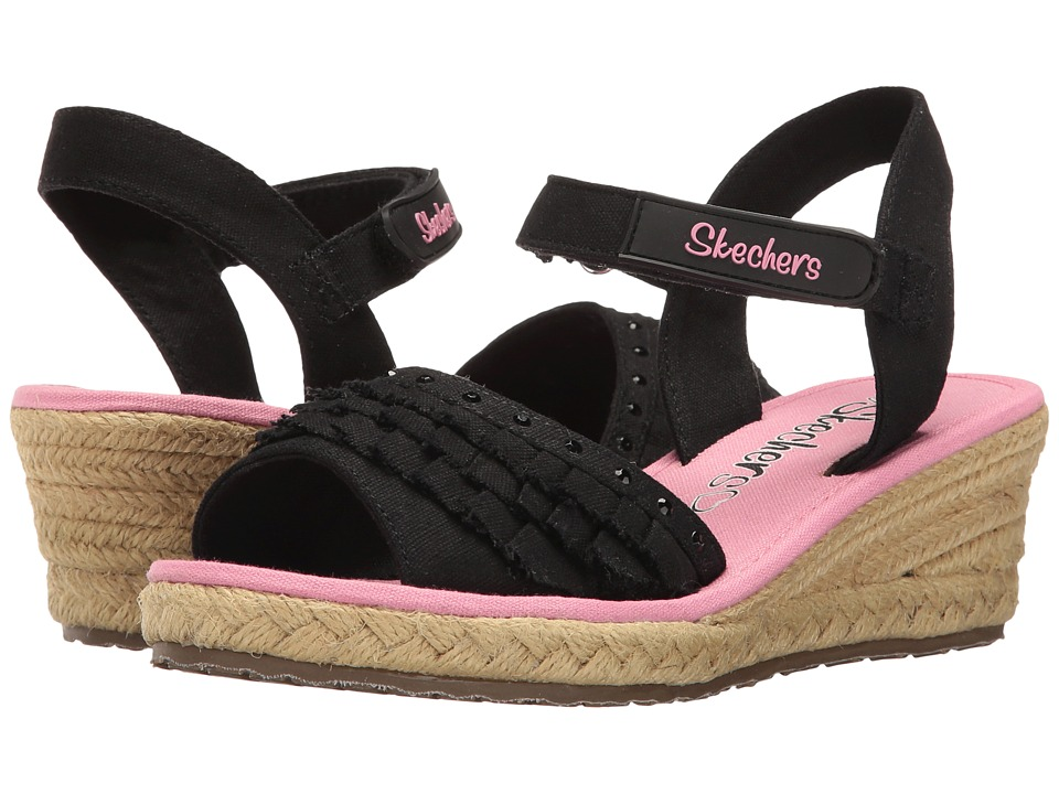 SKECHERS KIDS - Tikis Ruffle Ups 86532L (Little Kid/Big Kid) (Black/Pink) Girl's Shoes