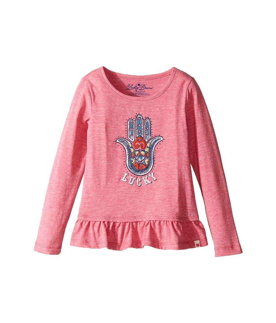 Lucky Brand Kids - Long Sleeve Tee w/ Ruffle and Hamsa Screen Print (Toddler) (Magenta) Girl's T Shirt