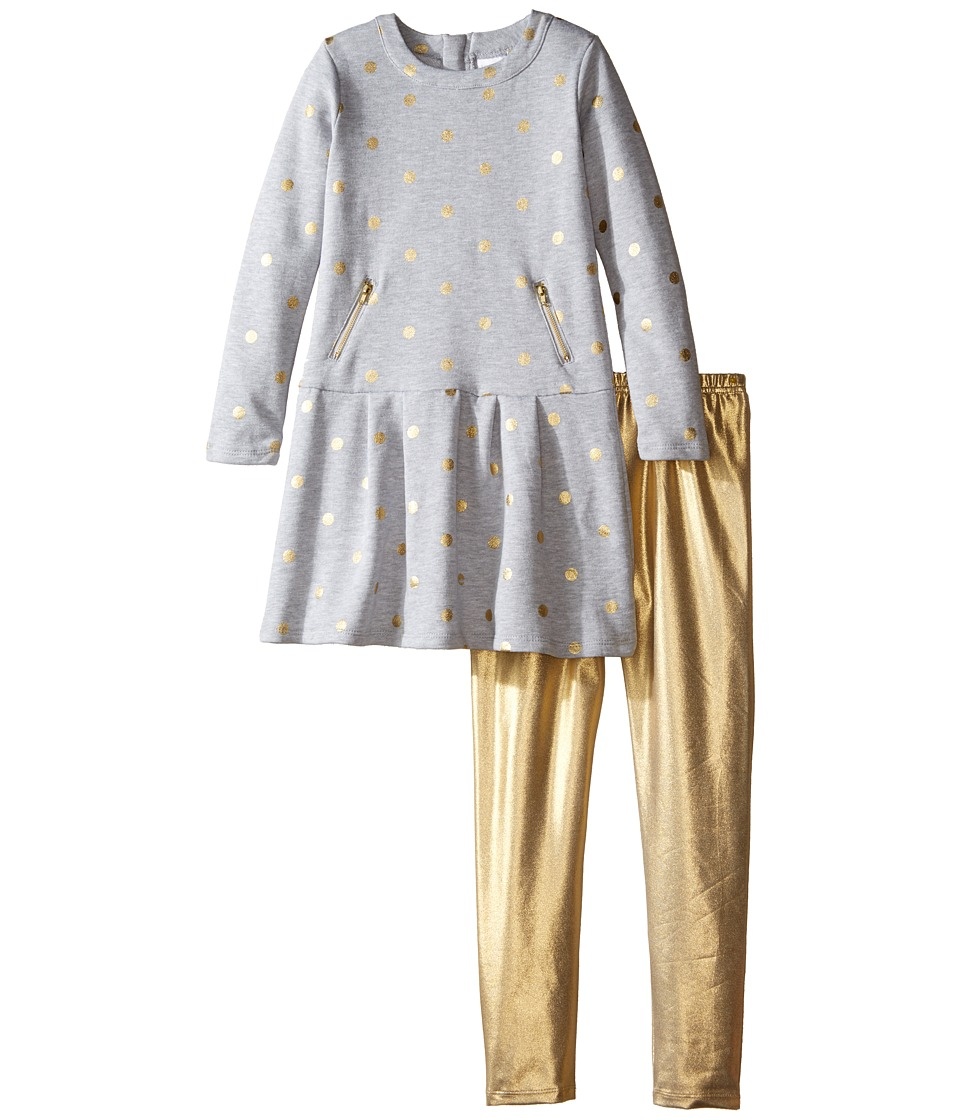 Kardashian Kids - Gold Fleece Dress with Metallic Leggings Two-Piece Set (Toddler/Little Kids) (Blue/Gold Metallic) Girl's Active Sets
