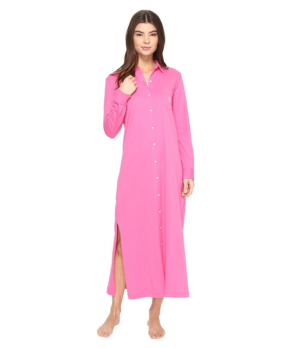LAUREN Ralph Lauren - Jacquard Jersey Maxi Lounger (Preppy Pink) Women's Pajama