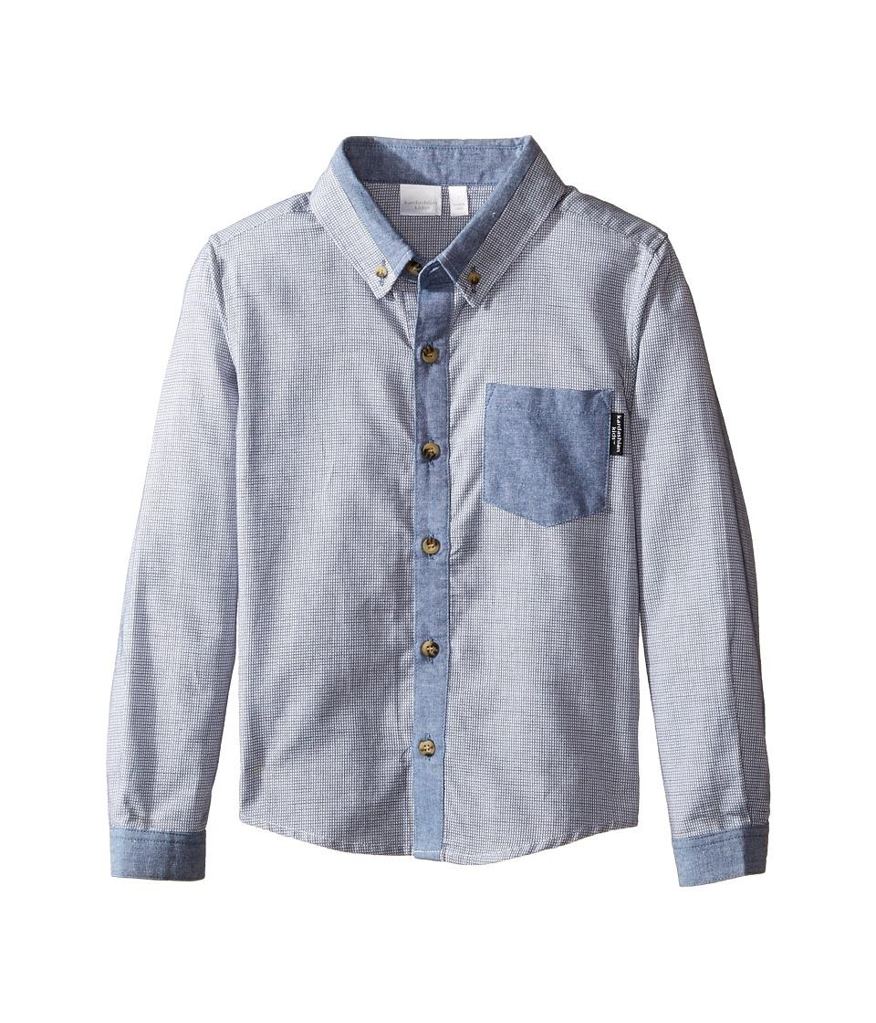 Kardashian Kids - Textured Shirt with Chambray Trim (Toddler/Little Kids) (Blue) Boy's T Shirt