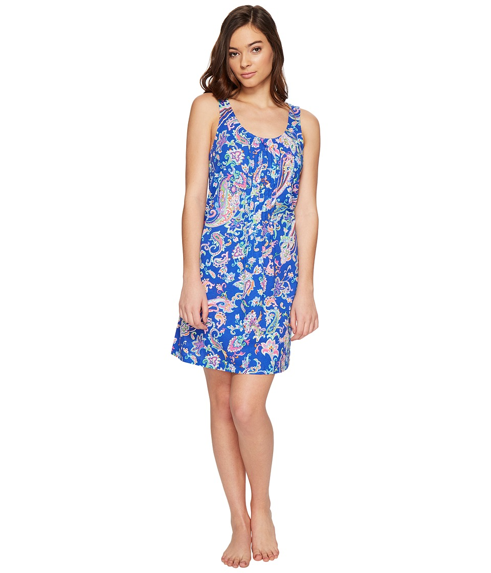 LAUREN Ralph Lauren - Knit Short Gown (Royal Blue Paisley) Women's Pajama