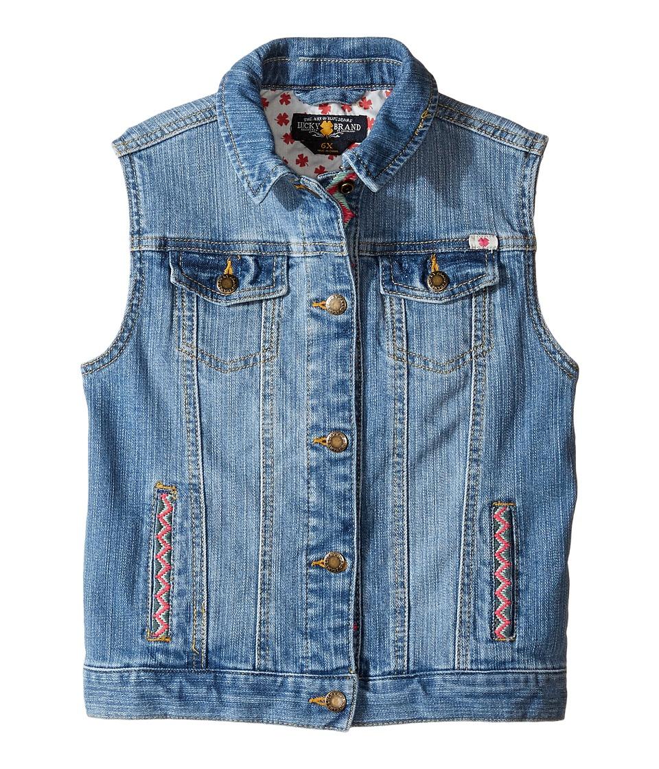 Lucky Brand Kids - Denim Vest w/ Embroidery (Little Kids) (Monterey Wash) Girl's Vest