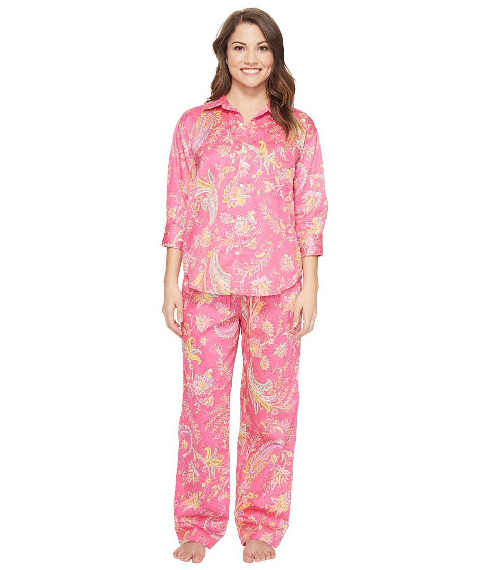 LAUREN Ralph Lauren - Petite Sateen 3/4 Sleeve Pajama (Pink Multi Paisley) Women's Pajama Sets