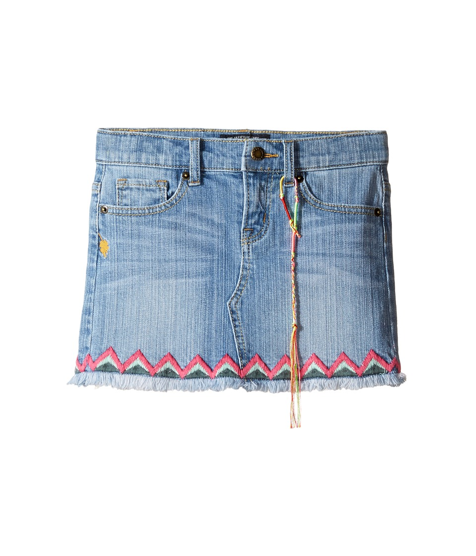 Lucky Brand Kids - Denim Mini Skirt w/ Embroidery (Little Kids) (Monterey Wash) Girl's Skirt
