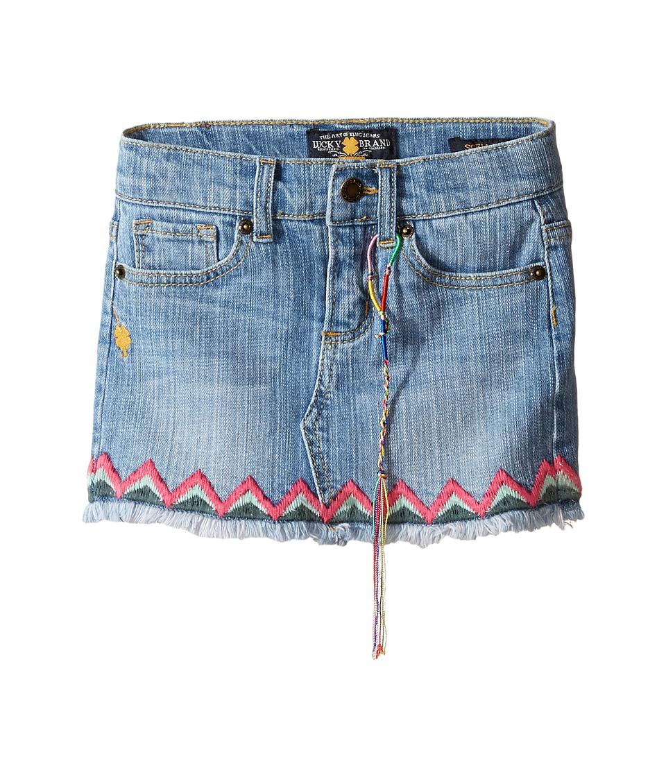Lucky Brand Kids - Denim Mini Skirt w/ Embroidery (Toddler) (Monterey Wash) Girl's Skirt