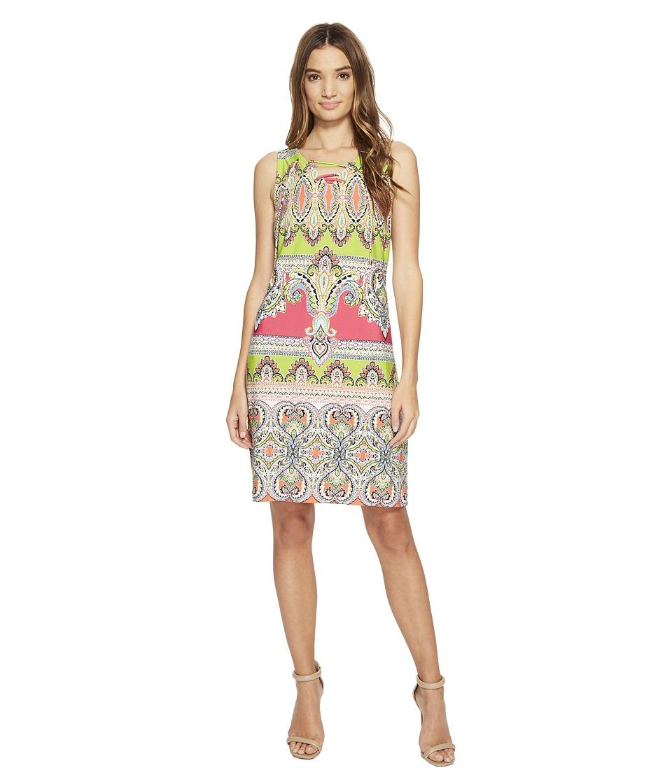 Christin Michaels Mordred Lace Shift Dress (Pink/Lime/Aqua) Women