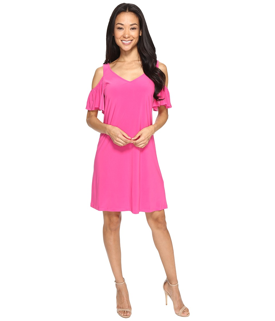Christin Michaels - Vera Cold Shoulder Dress (Shocking Fuchsia) Women's Dress