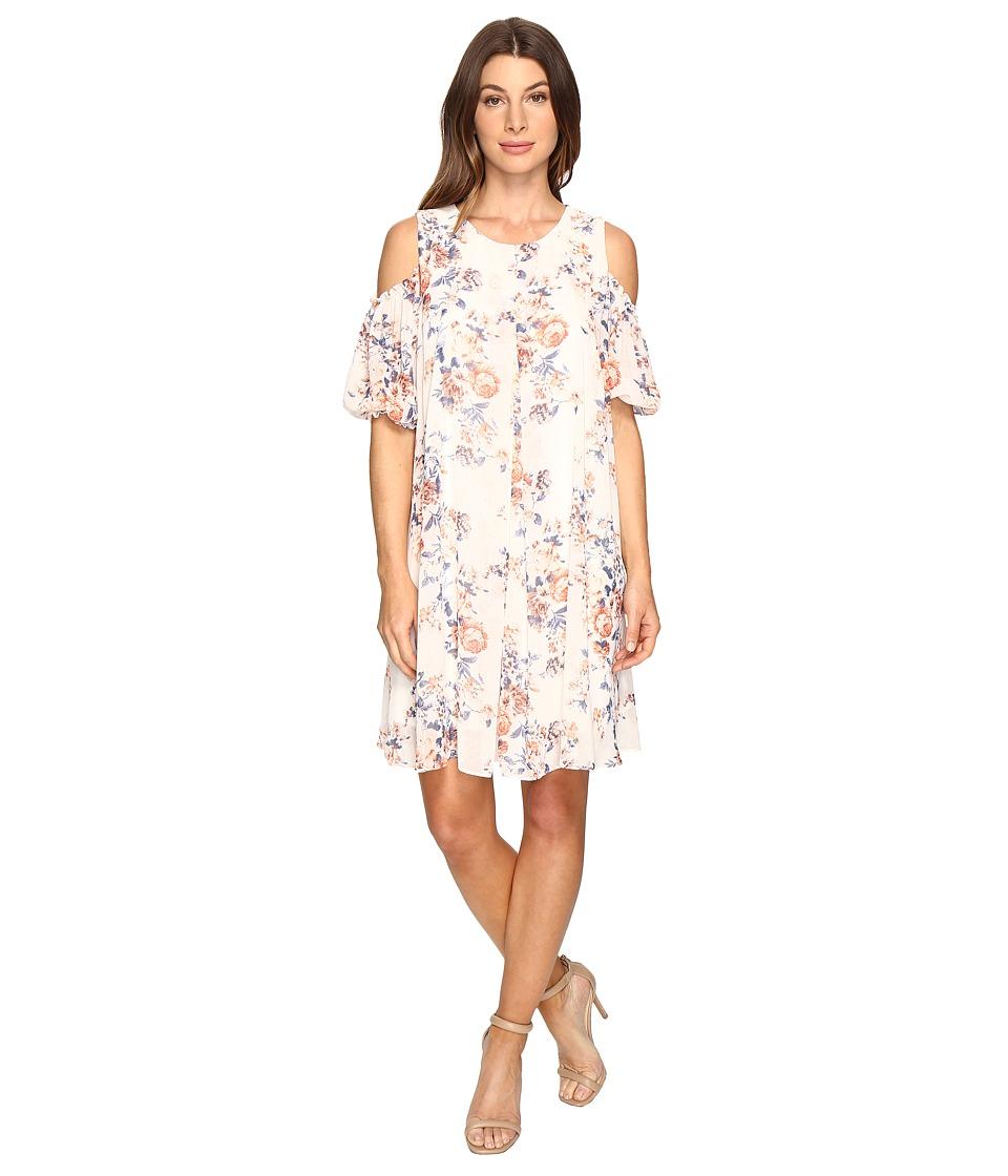 Christin Michaels Boulle Floral Cold Shoulder Dress (Coral/Ivory) Women