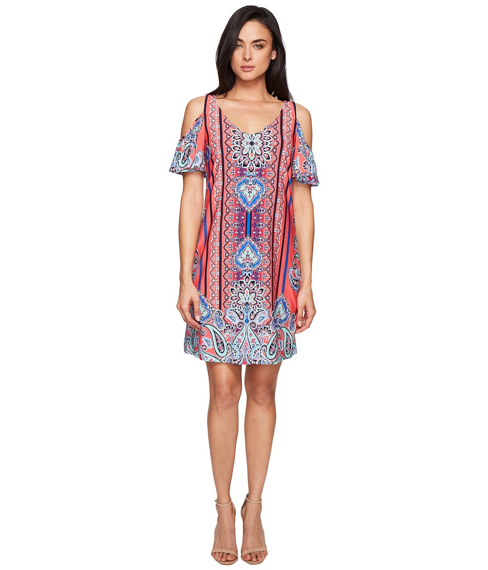 Christin Michaels Gowain Dress (Coral/Pink/Blue) Women