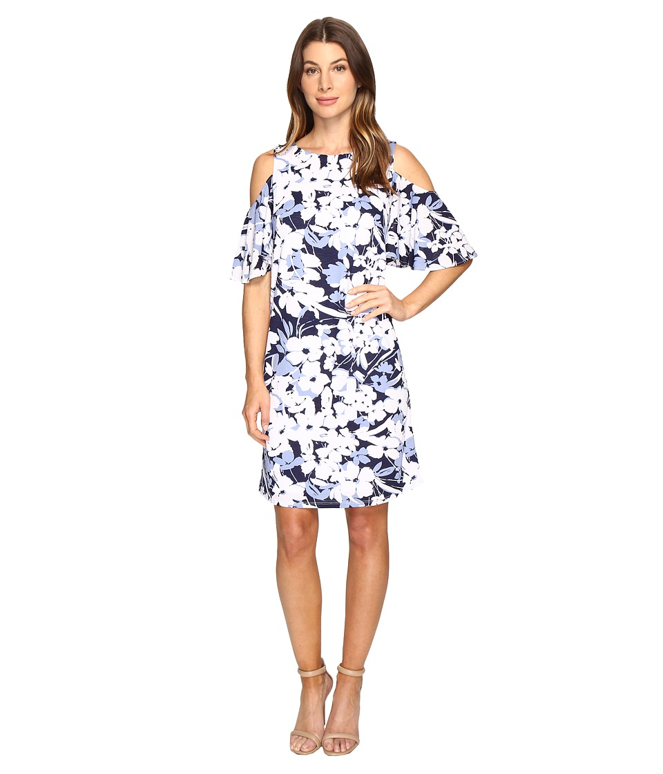 Christin Michaels - Danish Floral Cold Shoulder Dress (Blue/White) Women's Dress