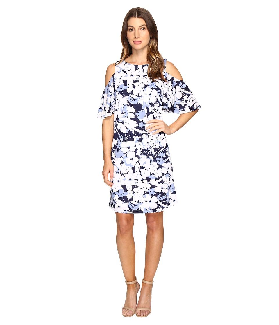 Christin Michaels - Danish Floral Cold Shoulder Dress (Blue/White) Women's Dress
