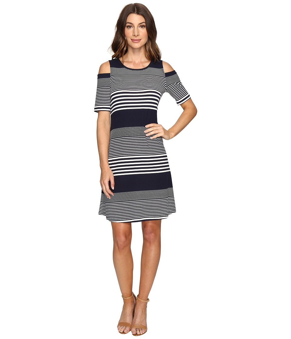Christin Michaels Huron Cold Shoulder Dress (Navy/Ivory) Women
