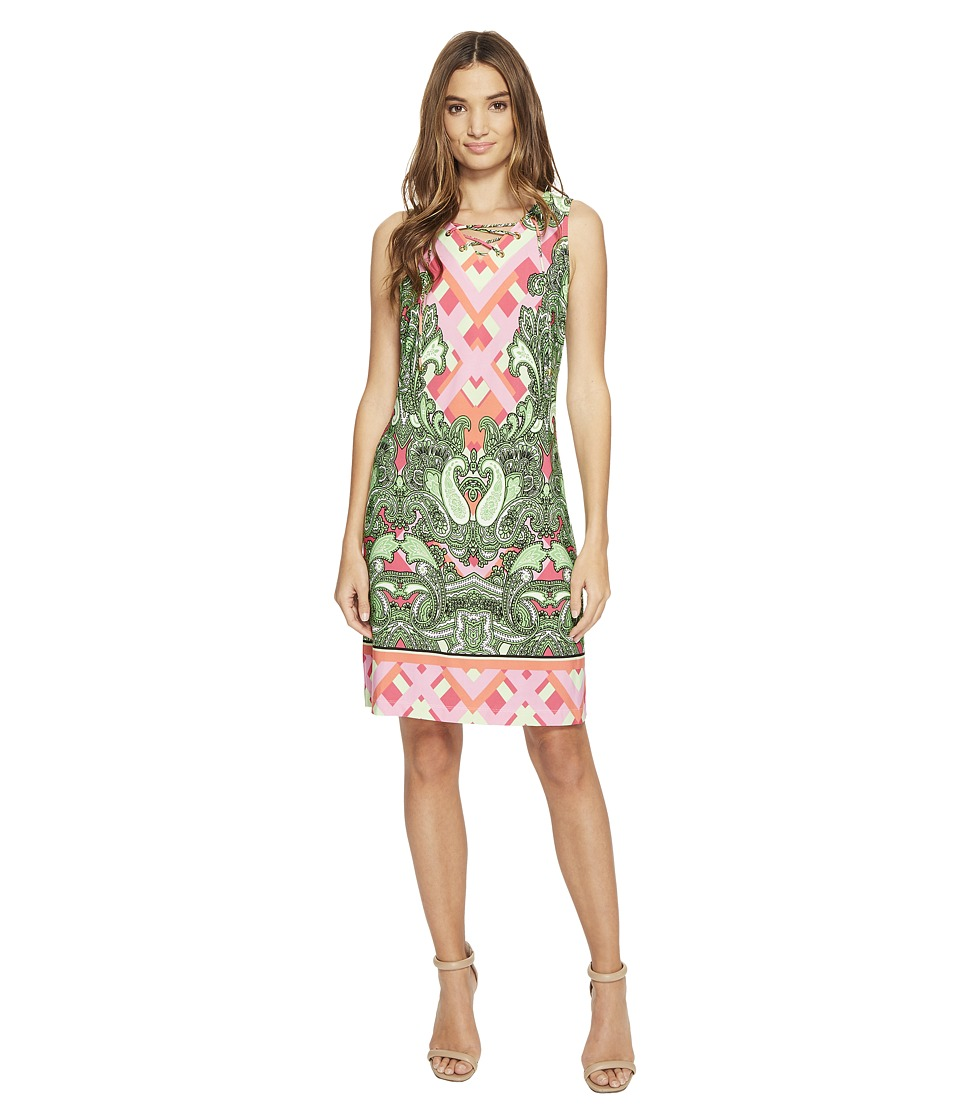 Christin Michaels - Mordred Lace Shift Dress (Pink/Green) Women's Dress