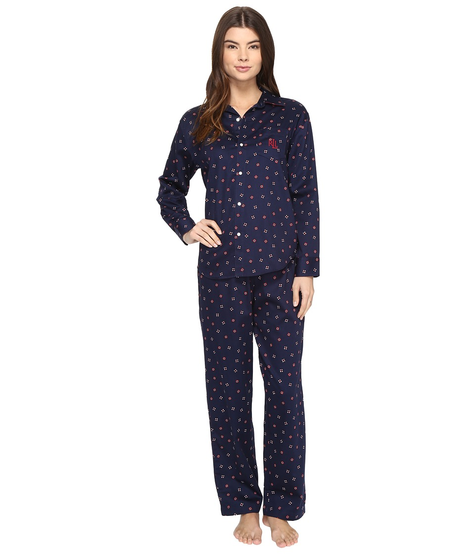LAUREN Ralph Lauren - Sateen Pajama (Tossed Geo) Women's Pajama Sets