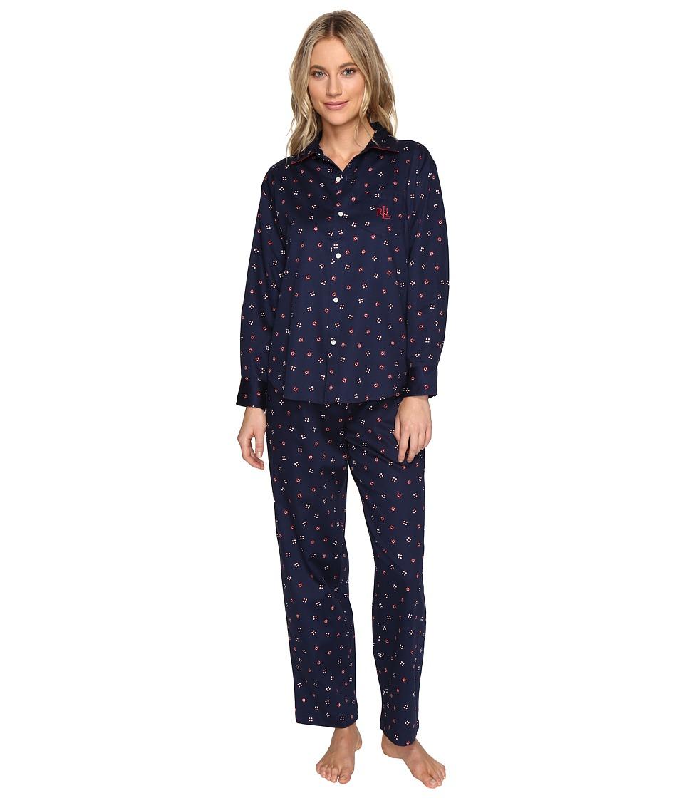 LAUREN Ralph Lauren - Petite Sateen Pajama (Tossed Geo) Women's Pajama Sets