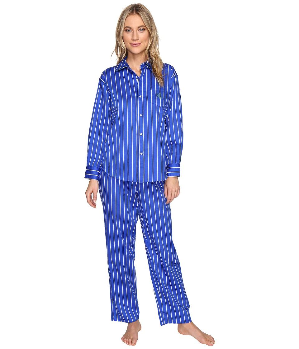 LAUREN Ralph Lauren - Petite Sateen Pajama (Royal Blue Stripe) Women's Pajama Sets