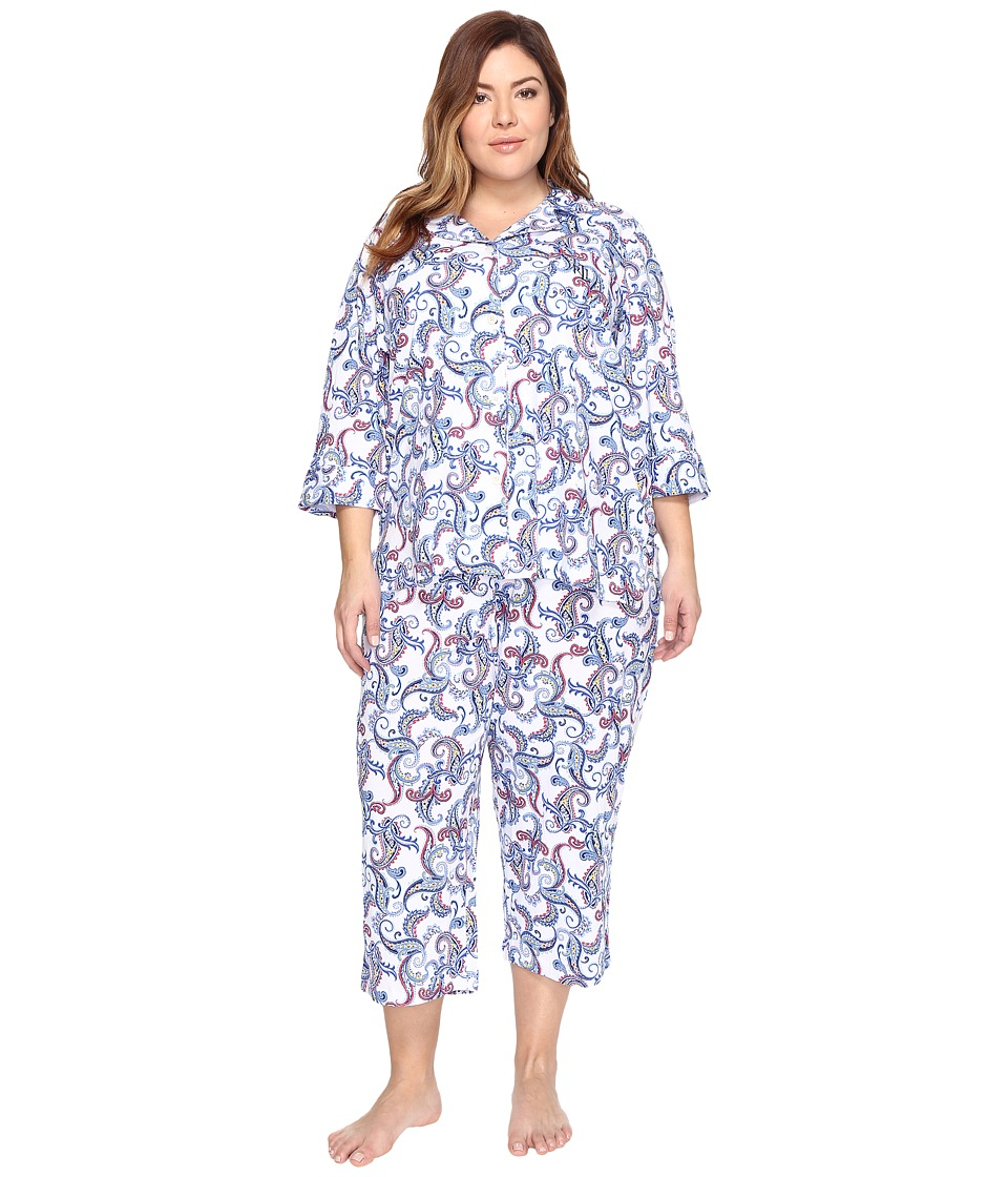 LAUREN Ralph Lauren - Plus Size 3/4 Sleeve Notch Collar Pj (White Paisley) Women's Pajama Sets