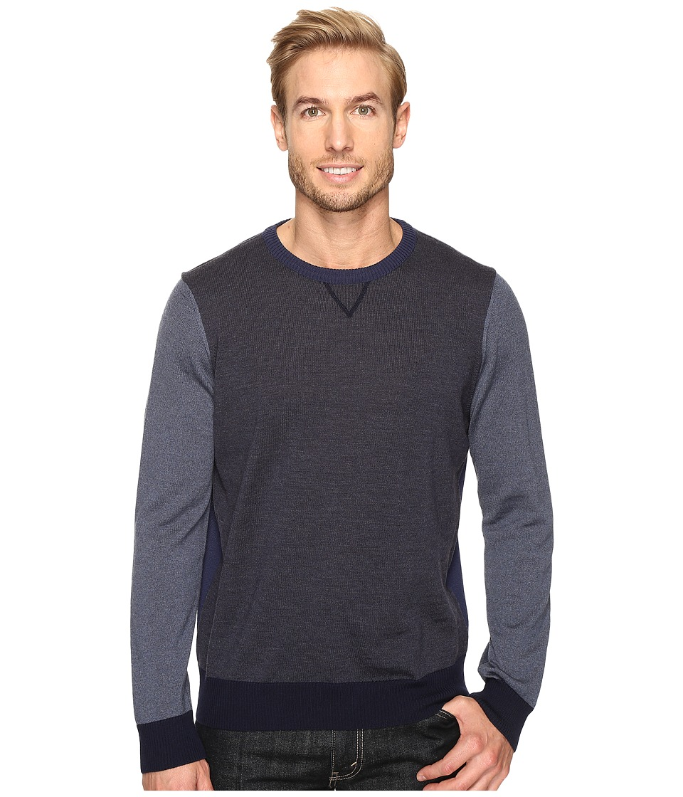 Thomas Dean & Co. Color Block Merino Crew Sweater (Blue) Men