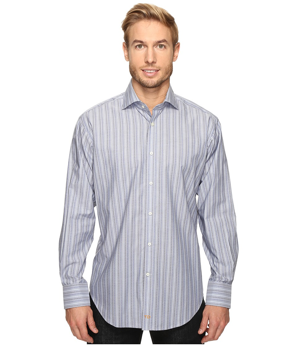 Thomas Dean & Co. - Long Sleeve Dashed Stripe Sport Shirt (Blue) Men's Clothing