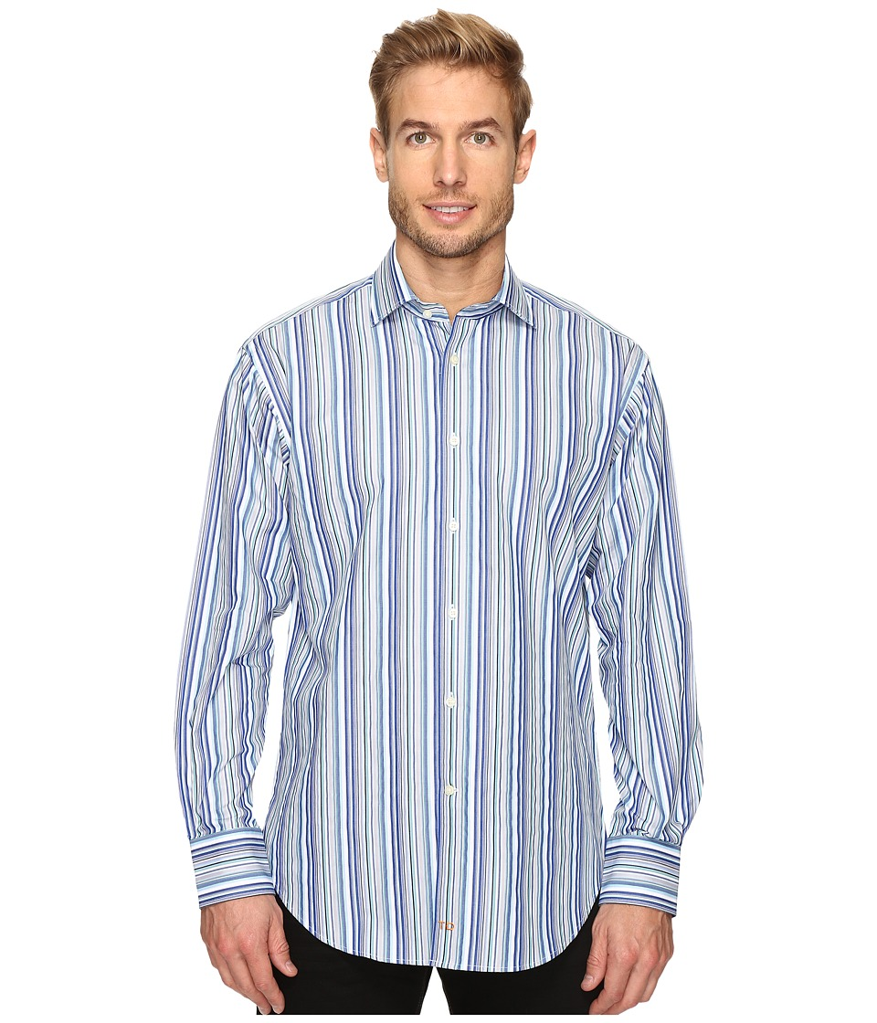 Thomas Dean & Co. - Long Sleeve Multi Stripe Sport Shirt (Blue) Men's Clothing