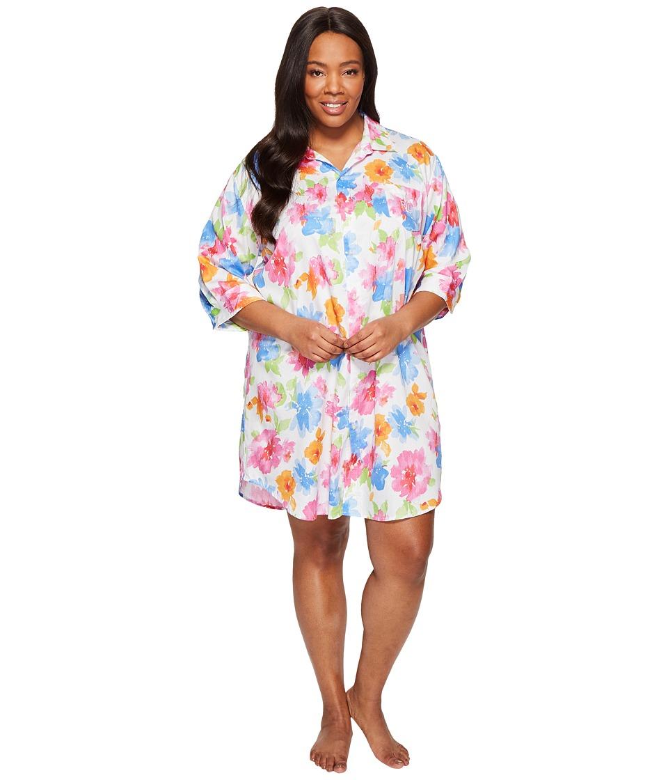 LAUREN Ralph Lauren - Plus Size Sateen 3/4 Sleeve Sleepshirt (White Floral) Women's Pajama