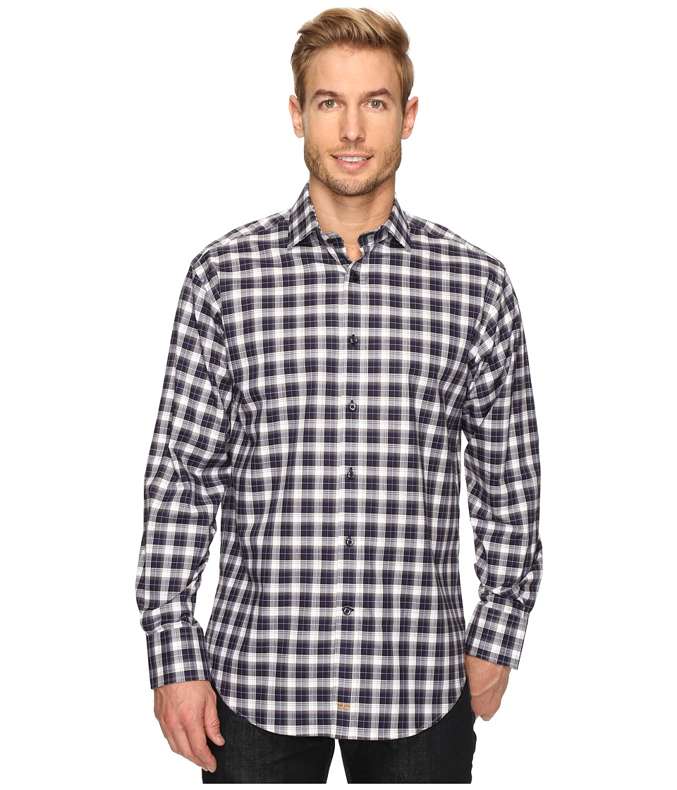Thomas Dean & Co. - Long Sleeve Classic Plaid Sport Shirt (Navy) Men's Clothing