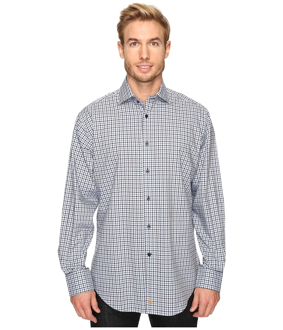 Thomas Dean & Co. - Long Sleeve Multi Check Sport Shirt (Blue) Men's Clothing