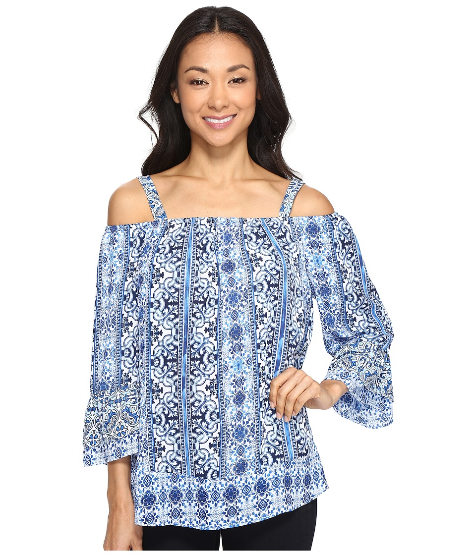 Brigitte Bailey - Kit Printed Top (Blue/White) Women's Clothing
