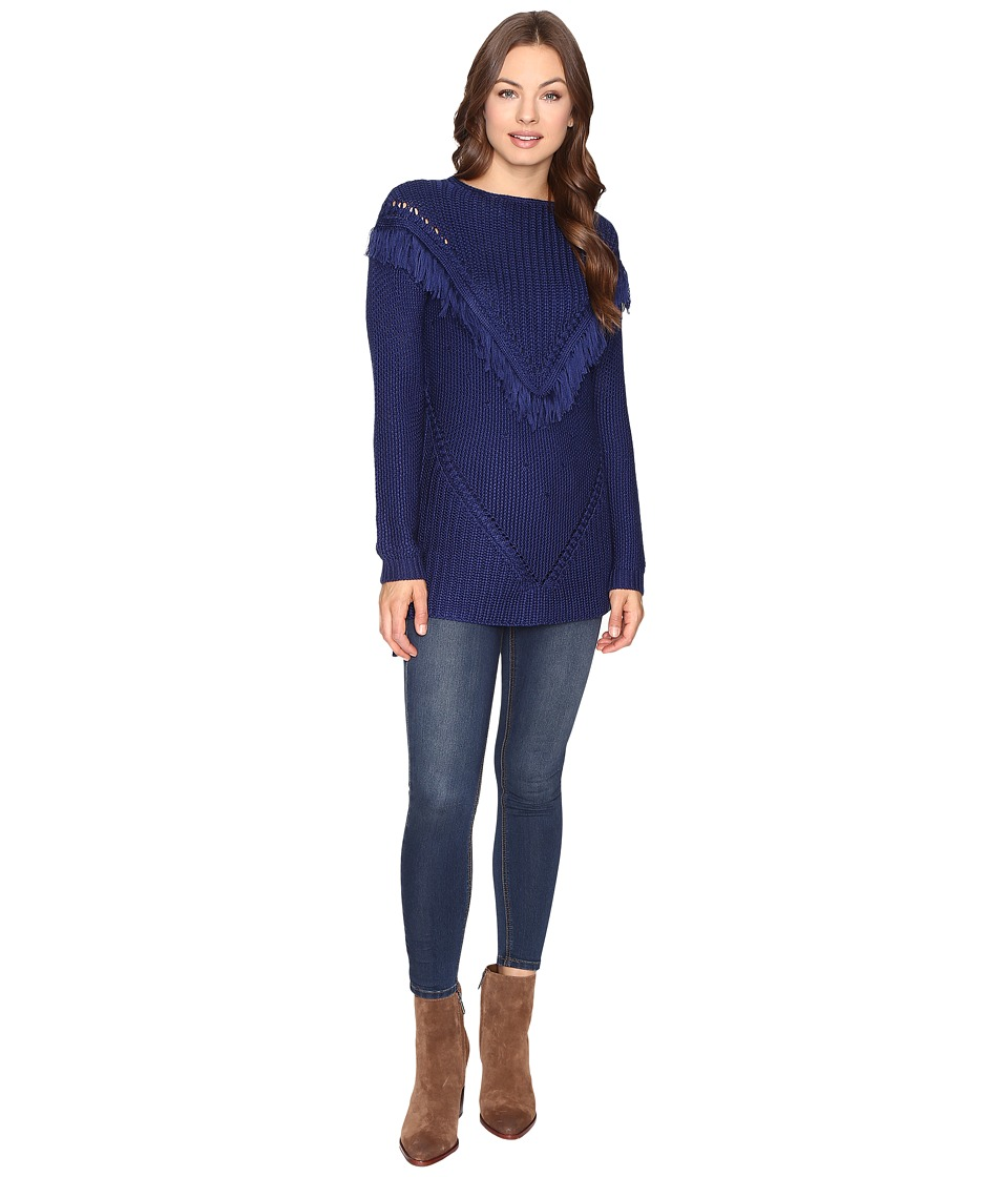 Brigitte Bailey - Fringed Ribbon Lake Pullover (Stormy Night) Women's Clothing