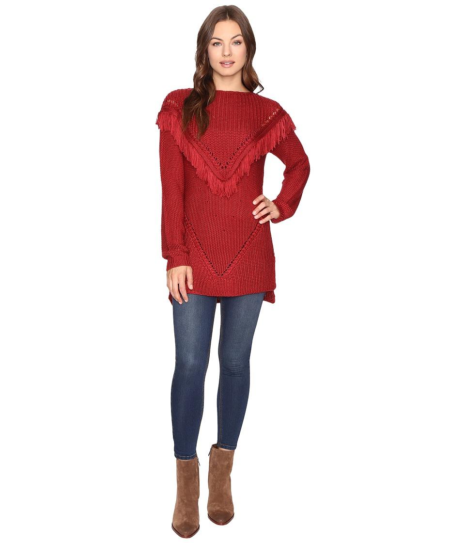 Brigitte Bailey - Fringed Ribbon Lake Pullover (Hot Pepper) Women's Clothing