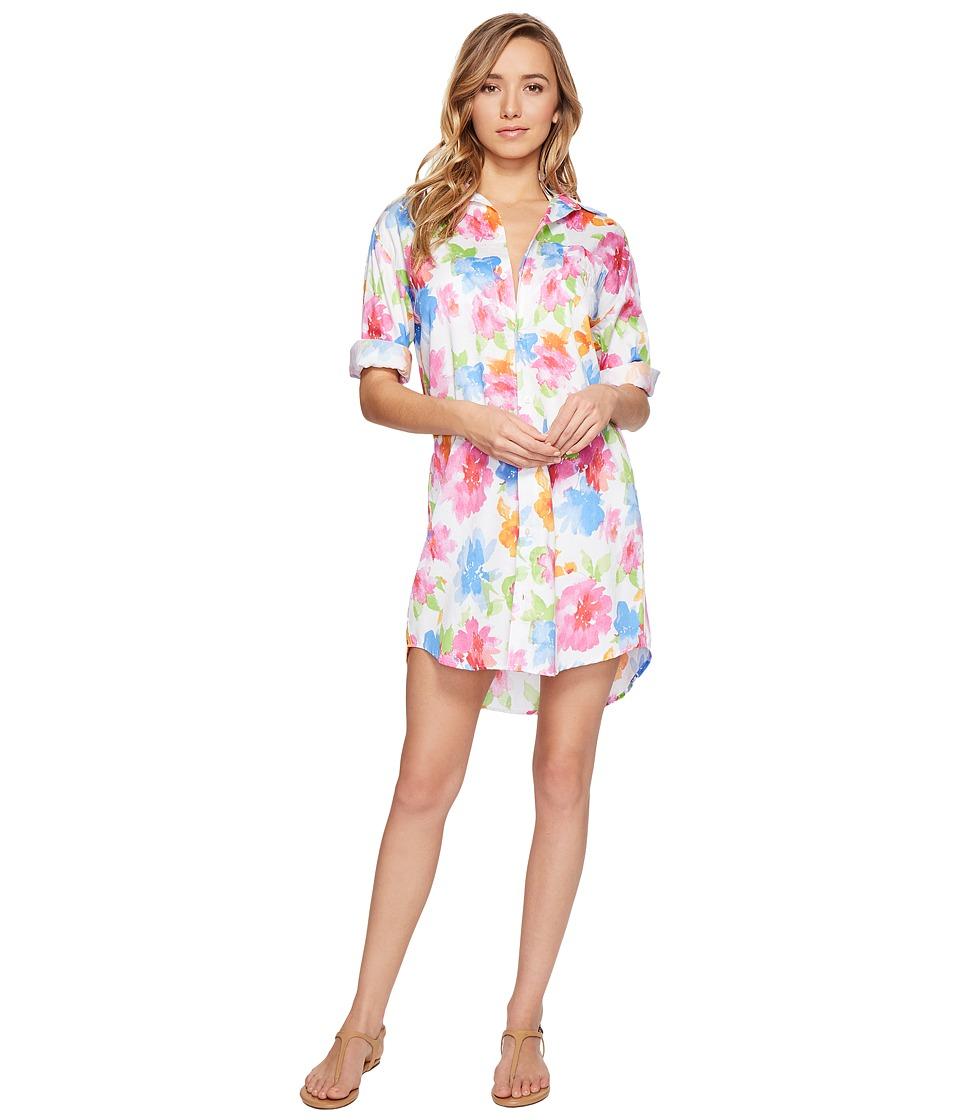 LAUREN Ralph Lauren - Sateen 3/4 Sleeve Sleepshirt (White Floral) Women's Pajama