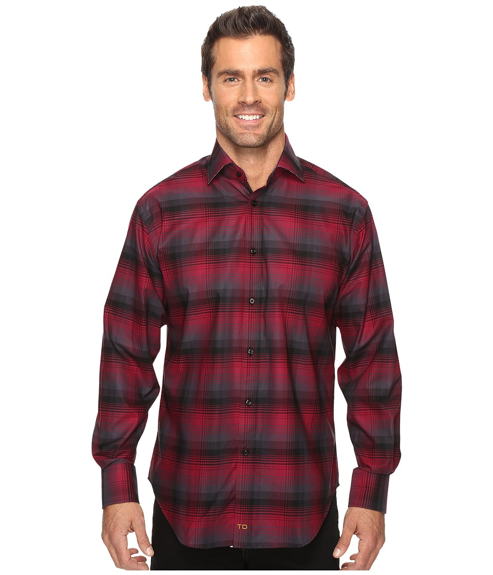 Thomas Dean & Co. - Long Sleeve Plaid Sport Shirt (Wine) Men's Clothing